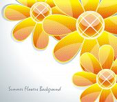 Original paper flowers on white, vector background