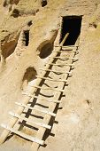reconstructed ladder into the entrance of a Kiva or room built by the Anazasi indians (circa 1200-14