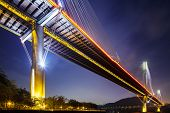 pic of hong kong bridge  - Ting Kau suspension bridge in Hong Kong at night - JPG