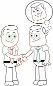 image of sneaky  - Two cartoon businessmen shaking hands with one of them thinking sneaky thoughts - JPG