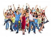 stock photo of crowd  - Group of happy people jumping isolated on white background - JPG