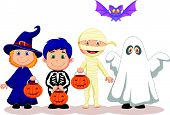 stock photo of happy halloween  - Vector illustration of Happy Halloween party with children cartoon trick or treating - JPG