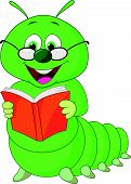 image of green caterpillar  - Vector illustration of Caterpillar cartoon reading book - JPG