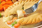 stock photo of chicken-wire  - Closeup of a forkful of chicken pot pie with ingredients - JPG