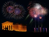 foto of akropolis  - Griechischer Tempel in Agrigento Sizilien Italien bei Nacht mit Feuerwerk - JPG