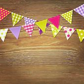 Bunting Flags With Wood Background, Vector Illustration