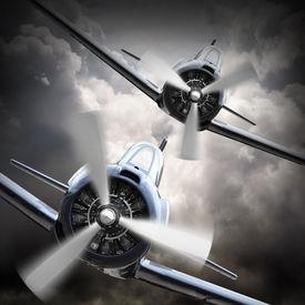 foto of fighter plane  - Dramatic scene on the sky - JPG