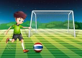 Illustration of a soccer player kicking the ball with the flag of Thailand