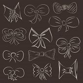 Vector illustration of a set of hand drawn bows