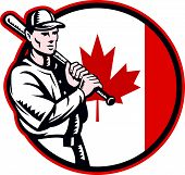 pic of hitter  - Illustration of a Canadian baseball player batter hitter holding bat on shoulder set inside circle with Canada maple leaf flag done in retro woodcut style isolated on white background - JPG