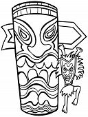 foto of witch-doctor  - Witch Doctor Tiki Idol Line Art isolated on a white background - JPG