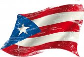 stock photo of west indies  - A grunge Puerto rican flag in the wind for you - JPG