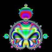 stock photo of mandelbrot  - Iconic Mandelbrot shape  in multicolors on a black background - JPG