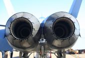 stock photo of afterburner  - Close up back view of military jet engines - JPG