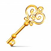 picture of skeleton key  - Golden key isolated on white photo - JPG