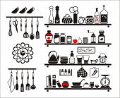 foto of kettling  - Vector black food and drinks icons set drawn up as kitchen shelves - JPG
