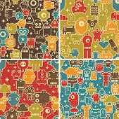 stock photo of creatures  - Set of seamless patterns with robots - JPG