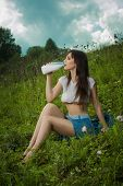 foto of milkmaid  - girl in a t - JPG
