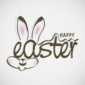 Happy Easter celebrations flyer, poster or banner design with stylish text and bunny face on grey ba