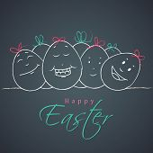Happy Easter celebration card with happy faces decorated on easter eggs on grey background.