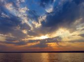 pic of azov  - Beautiful colorful sunset over Azov sea Ukraine - JPG