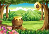 picture of jungle flowers  - Illustration of a stump at the jungle with a big pot of honey - JPG