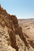 stock photo of masada  - Masada cliff and surrounding desert near the Dead Sea in Israel - JPG