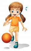 Illustration of a young girl playing basketball on a white background