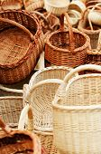 stock photo of handicrafts  - Traditional wreathed baskets in the handicraft mart - JPG