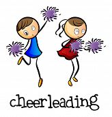picture of cheerleader  - Illustration of the cheerleaders dancing on a white background - JPG