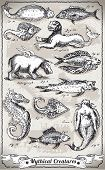 Vintage Set of Mythical Creatures