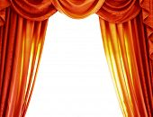 picture of home theater  - Luxury orange curtains isolated on white background - JPG