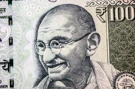 stock photo of gandhi  - Mahatma Gandhi close - JPG