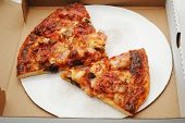 image of take out pizza  - Take Out Meat and Cheese Pizza Pie - JPG