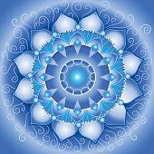 pic of chakra  - abstract blue pattern mandala of vishuddha chakra vector - JPG