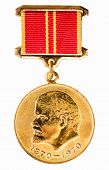 foto of lenin  - Ussr Medal For Valiant Work In Honor Of The 100th Anniversary Of Of Vladimir Lenin Isolated On White Background - JPG