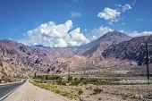 stock photo of mendocino  - National Road 7 passing by the Department of Lujan de Cuyo in Mendoza Argentina