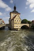 stock photo of regnitz  - Bamberg is a famous historical town in Germany with the landmark city hall inside the river regnitz - JPG