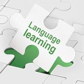 stock photo of dialect  - language learning on white puzzle pieces background - JPG