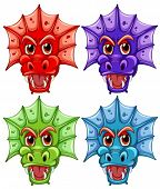 stock photo of dragon head  - Illustration of four different dragon heads - JPG