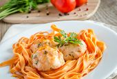 pic of meatballs  - Chicken Meatballs With Pasta On The Wooden Table - JPG