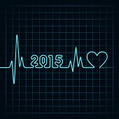 pic of heartbeat  - Illustration of heartbeat make 2015 and heart symbol - JPG