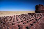 stock photo of stelles  - Train cemitery forgotten at the Atacama Desert  - JPG