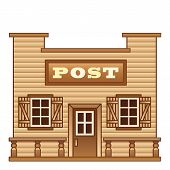 stock photo of old post office  - Post office from Wild West for game level - JPG