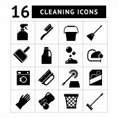 pic of dust-bin  - Set icons of cleaning isolated on white - JPG