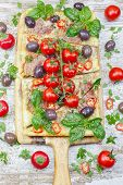 stock photo of take out pizza  - Pizza with prosciutto - JPG