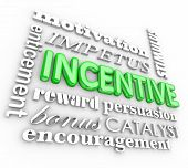 stock photo of enticing  - Incentive word in 3d letters on background with motivation - JPG