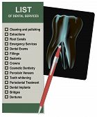 stock photo of radiation therapy  - List of dental services and an X - JPG