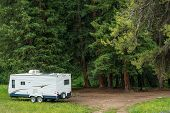 image of travel trailer  - Boondocking Dry Camping in the Forest - JPG