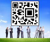 stock photo of qr codes  - QR Code Identity Marketing Data Encryption Concept - JPG